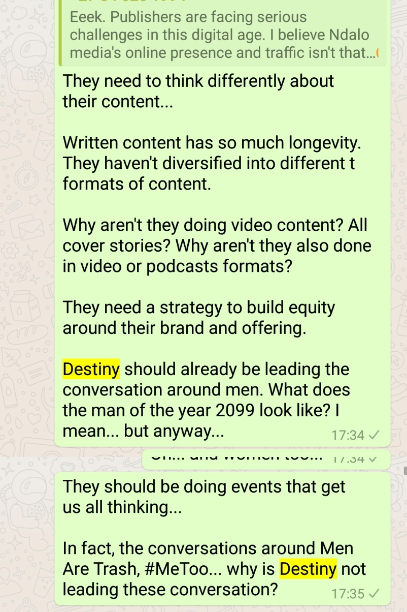 WhatsApp Group Conversation, Destiny, Ndalo Media, Bogosi Motshegwa